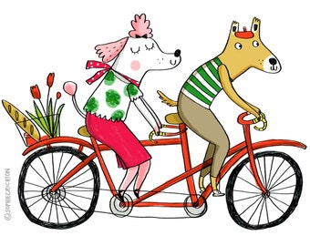 Dog Tandem-Home Decor-Cute Print-Animal Print-Bicycle-Dogs-Romance-Colourful Print-Fun Print-Illustration Print (8 X 10 in)