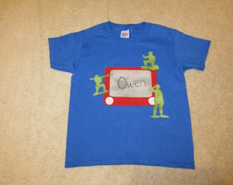 Toy Story ETCH a SKeTCH Green Army Men Custom Boutique T SHIRT Tee Personalized