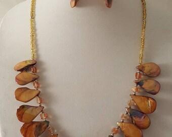 Orange Sea Shell Jewelry Set - Sea Shell Jewelry Set - Orange Jewelry Set - 3 PCs Jewelry Set - Orange Sea Shells - Sea Shell Jewelry -Shell