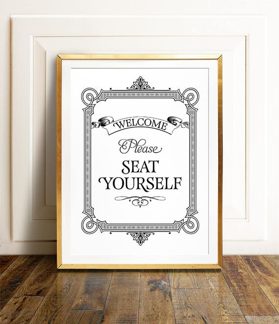 Bathroom Wall Art PRINTABLE Please Seat Yourself Sign Restaurant Decor Funny Prints Kids