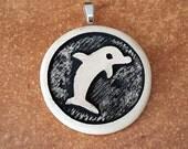 Dolphin Pendant - Ocean Pendant - Ceramic Pendant - Stoneware Pendant - Pottery Pendant - Clay Pendant - Dolphin Jewelry - Ocean Jewelry