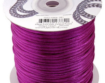 Cardinal Purple Satin 2 mm Rattail Cord - 100 yd - 300 Ft - Full Spool - Kumihimo Cording