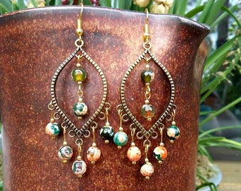 Bronze bohemian earrings with multicolor faceted agate beads.