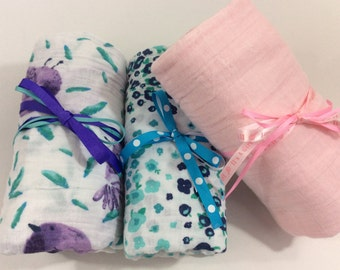 "Double Gauze Swaddle Blanket For A Baby Girl-by Johanna Jo-100% Cotton Double Gauze, Stroller Blanket, Nursing Cover-size 47""x47"""