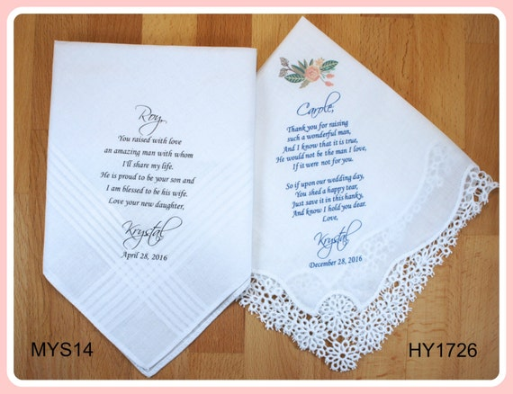 Parents of the Groom gift from the Bride-Wedding Handkerchief-PRINTED ...