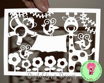 Monkey and Giraffe paper cut svg / dxf / eps files and pdf / png printable templates for hand cutting. Digital download. Commercial use ok