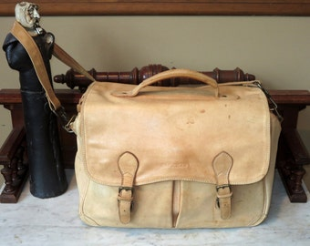 Vintage Ellington Original Rucksack Co. Briefcase Messenger Bag In Natural Color Leather -VGC