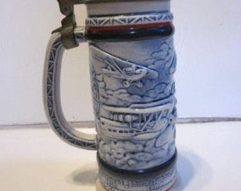 1981 Avon Beer Stein W Pewter Lid airplane beer stein