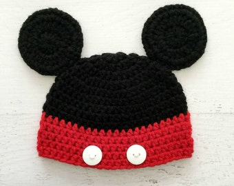 Baby Mickey Hat, Mickey Mouse Hat, Mickey Mouse Beanie, Mickey Mouse Ears, Newborn Mickey Hat, Disney Inspired Hat, Baby Character Hat,