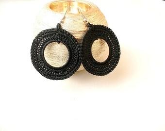 Black hoops, Crochet Earrings, Knitted Earrings, Silver plated hooks, Lace hoops, Thread earrings, Knit earrings, Earrings circle
