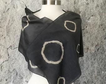 Shibori scarf, Dyed scarf, plant dyed scarf, tie dye scarf, natural dye, shawl, Walnut dye