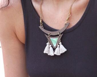 Tassel Necklace, Colorful Wood Jewelry, Bohemian Jewelry, Boho Necklace , Tassel Pendant, wooden geometric jewelry, Tribal Jewelry