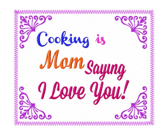 Mom Sayings Embroidery Design   Kitchen Applique Design   Cooking  Embroidery Design   Kitchen Towel Embroidery Design   Moms Kitchen Design