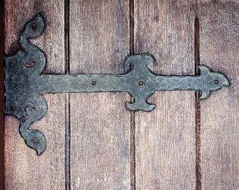Brown Foyer Art, Antique Door Hinge Photo, Vintage Door Print, Entryway Decor, Rustic Door Print, Door Photography, Brown Canvas Art