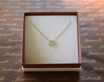 Beautiful aqua heart necklace. Gold filled small aqua chalcedony heart necklace. Small gold filled aqua heart necklace. Aqua necklace.