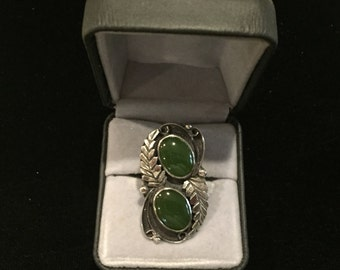 Vintage Early Navajo Silver Ring with 2 Green Stones