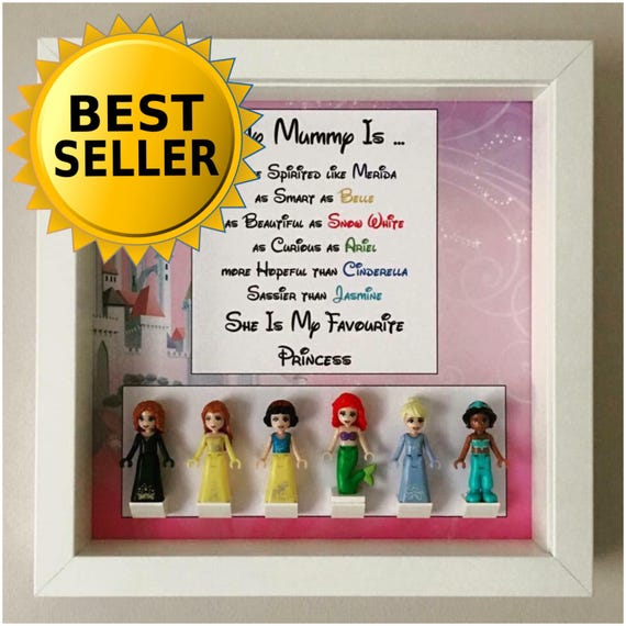 6PC Disney Princess Minifigure Frame, Mum, Gift, Geek, Box, Personalised, Idea, Birthday, Anniversary, For Her, Lego, Special, Mothers Day
