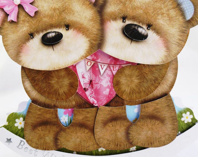 A Rocker Card, Wobble Head Card, Greeting Card, Two Bears, Decoupage, Children's Card, Twins, Boy or Girl, Any Age, Son, Daughter,