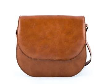 Cognac Crossbody Leather Bag