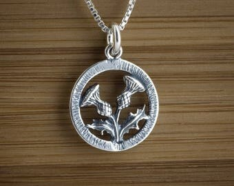 Thistle Scottish Celtic Charm or Earrings -STERLING SILVER- Chain Optional