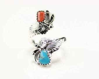Native American Sterling Silver Turquoise And Coral Adjustable Ring
