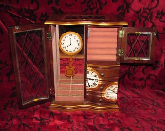 Wood Steampunk Pendulum Clock Jewelry Box with Mirror Upcycled Gears Time - Hand Painted