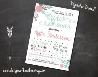 Coral and Teal Digital Bridal Shower Invitation
