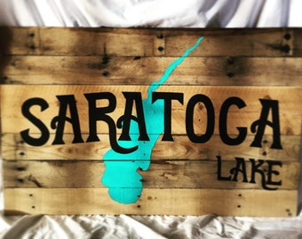 Personalized Lake House Sign - Hand Painted, Wood Pallet Sign