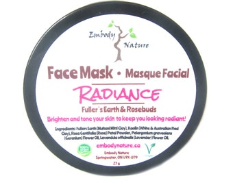 All Natural Radiance Face Mask, Skin Brightening, Clay Face Mask, Acne Prone Skin Face Mask