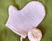Sisal Woven Cloth Bath Mitt, scrubbie, natural fiber washcloth with hanging loop, eco friendly, soap sack, soap saver