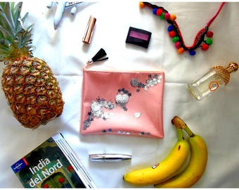 Magic pink handbag clutch with stars and shakerabili elements