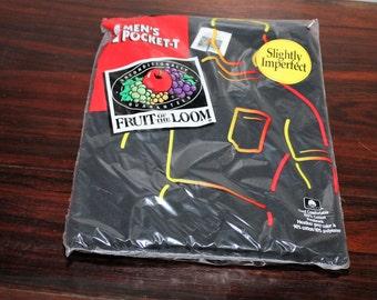 Vintage 90s Black One Pocket Fruit of The Loom T Shirt  Cotton L  42-44 NIP Nwt
