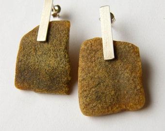 Earrings,  Amber earrings,  brown, raw,  modern, Silver 925, NEW, UNIQUE- Handmade