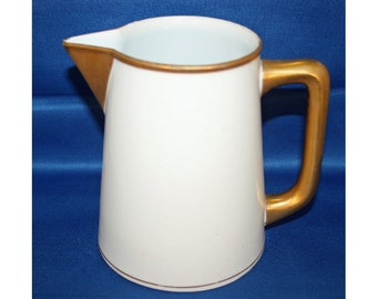 Antique NORITAKE NIPPON Ivory Milk Pitcher with Gold Handle and Trim circa 1910