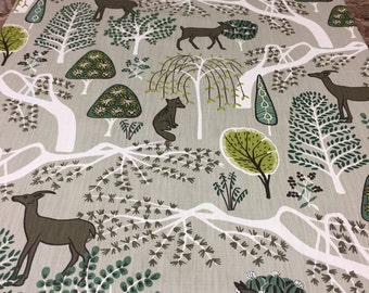 Gray tablecloth with wild animals and trees, Scandinavian design,
