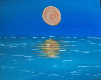 Original Acrylic on Canvas Painting Sun Reflection on the Ocean
