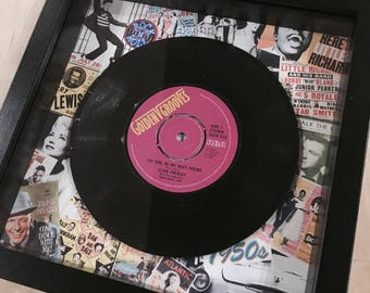 Retro Vintage Original Framed Vinyl 'No.1 Hit Record 'On the day you were born' 1958 Unique 60th Birthday Gift