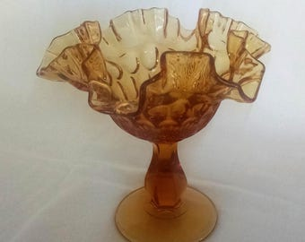 Fenton Art Glass Amber Thumbprint Pattern Crimped and Ruffled Footed Compote