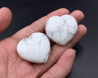 White Howlite Stone Heart Crystal Heart Natural White Gemstone Carved Heart Shaped Stone Healing Energy Crystal Gift CH