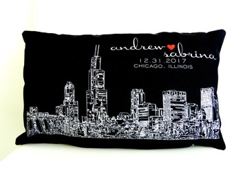 personalized skyline pillow wedding gift ideas city skyline engagement gift wedding pillow holiday gift christmas gift - Wedding Gift Ideas