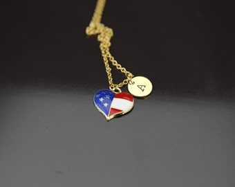 Gold Heart Flag Charm Necklace, American Flag Heart Necklace, Patriotic Jewelry, Romantic Gifts, Personalized Necklace, Initial Necklace