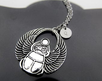 Silver Scarab Charm Necklace, Egyptian Scarab Pendant, Scarab Charm, Personalized Necklace, Initial Charm, Initial Necklace, Customized