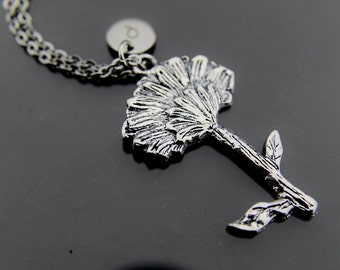 Silver Tree Charm Necklace, Daisy Charm, Flower Pendant, Personalized Necklace, Initial Charm, Initial Necklace, Customized Jewelry