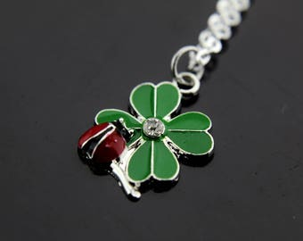 Red Ladybug on Green Clover Leaf Charm Necklace, Clover Charms, Ladybug Charms, Clover Leaf Charms, Personalized Necklace, Initial Necklace