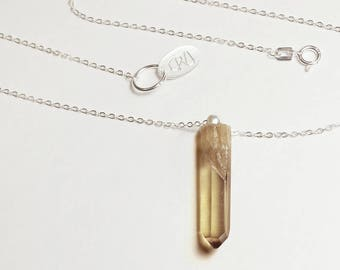 Citrine quartz point silver necklace, natural citrine quartz crystal delicate point, solid 925 sterling silver 16 inch 1 mm chain, handmade