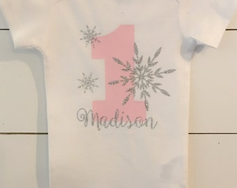 Winter ONEderland Birthday Shirt // Snowflake First Birthday // Pink and Silver Birthday Outfit // Winter Birthday Outift