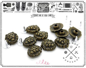 12pcs 12MM Antique Brass Bronze Lion Flower Shape Rapid Rivet Studs Leather Craft No.150
