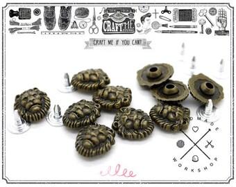 10Sets 12MM Antique Brass Bronze Lion Flower Shape Rapid Rivet Studs Leather Craft