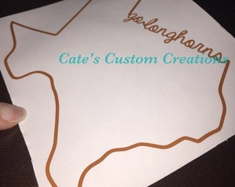 """Custom """"Go Longhorns"""" Texas Longhorn Decal"""