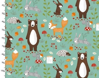 Forest Friends, Mint background, Forest animals, animal fabric, by 3 Wishes, 11661